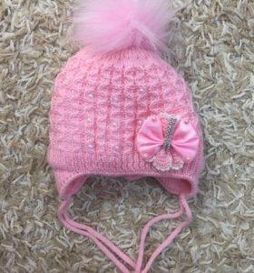 Новая шапочка зима от 0-4 мес
