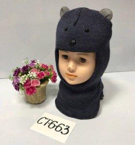 Новая шапка шлем с манишкой зима на синтепоне 1-3г