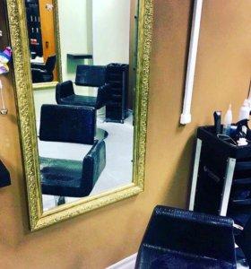 Зеркало кресло тележка парикмахерская