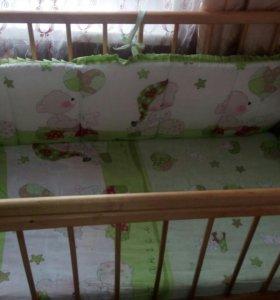 Продам кроватку + матрац+ одеяло+ балдахин