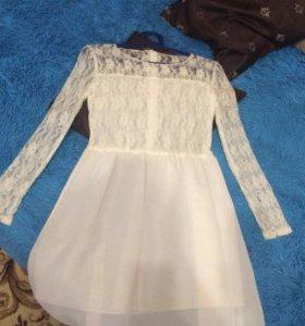 Платье кружевное шифоновое