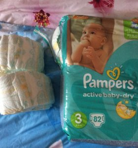 Pampers active baby-dry 3 (82 шт) и 2 (24 шт)