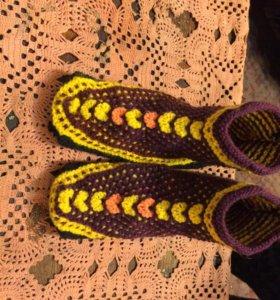 Тапки вязанье