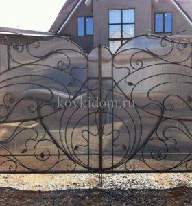 Кованые ворота из поликарбоната