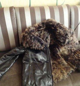 зимняя кожаная куртка натур.мех