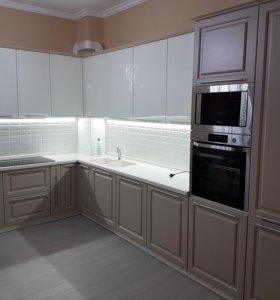 Кухонный гарнитур шоколад белый глянец