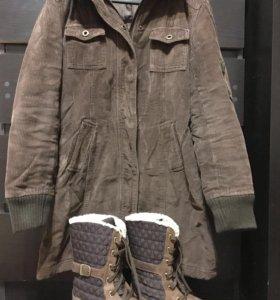 Пальто (куртка) коричневое