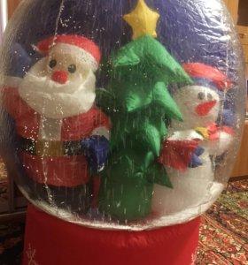 Надувной новогодний шар со снегом