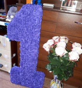 Продам единицу из гофре 80 см , цветы и гирлянду
