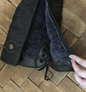 Зимние сапоги из натуральной кожи и меха