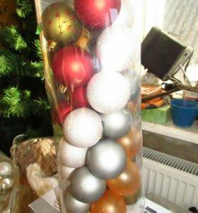 Елочные игрушки 8 см 15шт