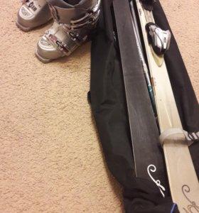 Горные лыжи, ботинки, палки, чехол