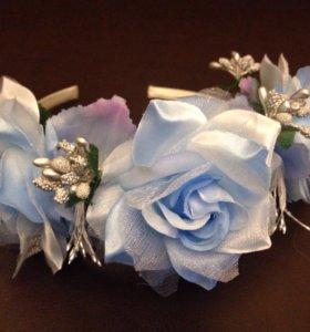 Голубой новогодний ободок с серебром
