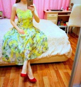 Жёлтое очаровательное платье London