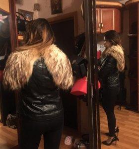 Теплая зимняя куртка из кожи с мехом