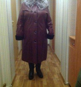 Пальто кожаное на меху