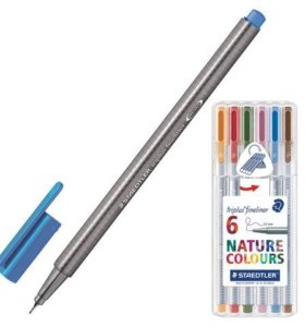 Немецкие капиллярные ручки, набор 6 шт. в пенале
