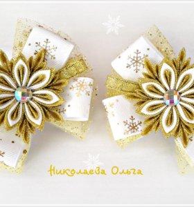 Новогодние резинки-снежинки для волос