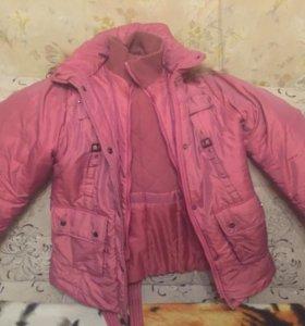 Розовая тёплая куртка