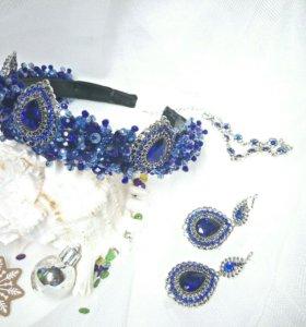 Ободок корона, серьги и браслетик.