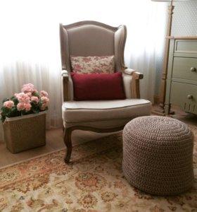 Вязаный пуф, ковры, корзинки из трикотажной пряжи