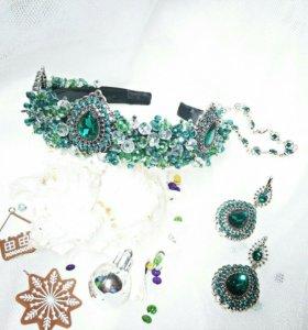 Ободок корона, серьги и браслетик