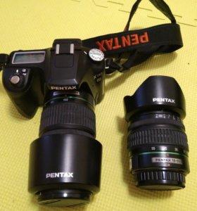Комплект зеркальный Pentax k110d + два объектива