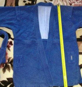 Самбовка синяя Крепыш с поясом. Рост 140