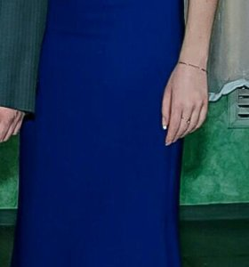 Вечернее синее платье-русалка в пол