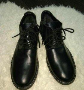 Новые мужские зимние кожаные ботинки 43