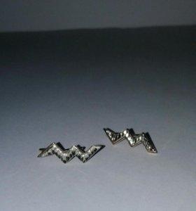 Серьги позолоченные с алмазной огранкой