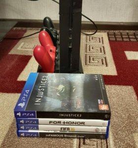 Sony ps4 500г с 2 геймпадами + 5 игры + подставка
