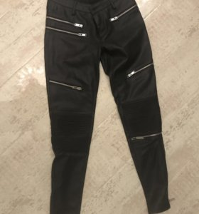 Кожаные штаны брюки Zara