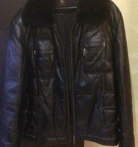 Куртка кожаная ворот мех норки