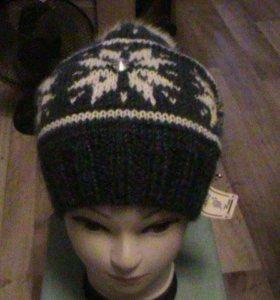 шапка женская с помпоном натуральным