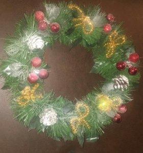 Новогоднее украшение, веночек на дверь