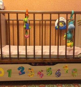Кроватка детская Атон Сашенька с матрасом