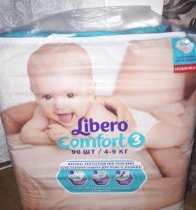 Памперсы Libero3 от 4-9 кг новые 90шт