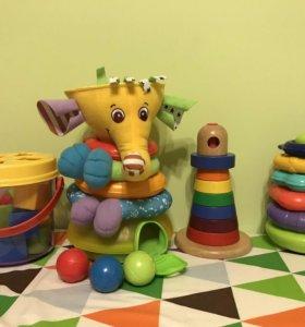 Пакет игрушек сортер пирамидки и подарок