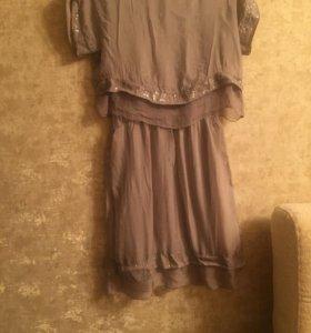 Шикарное платье! 100% шелк