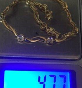 Браслет золото 585 с бриллиантами
