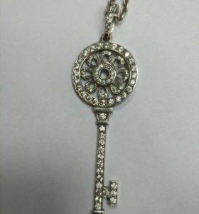Кулон ключ серебро