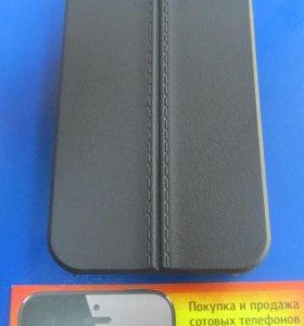Чехол накладка iPhone 5 / 5S под кожу №1 черный