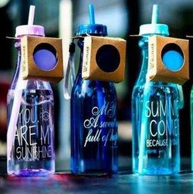Красивая бутылочка для воды с трубочкой