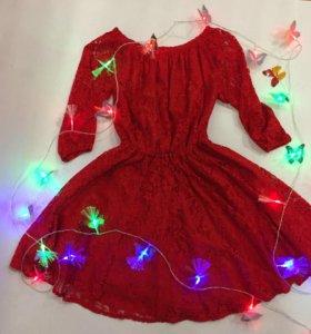 Платье гипюровое, с открытыми плечами