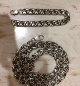 Продаю серебряную цепочку и браслет