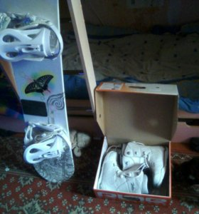 Сноуборд и ботинки.