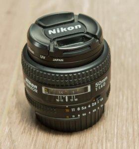 Nikon 50mm f/1.4D AF Nikkor + canon UV