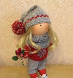 Новогодняя интерьерная куколка Гномушка