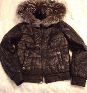 Куртка зимняя кожаная с мехом чернобурки